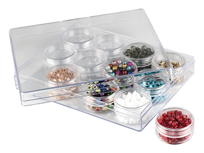 Clear Bead Storage Jar Set, 12     Medium Jars In A Clear Box