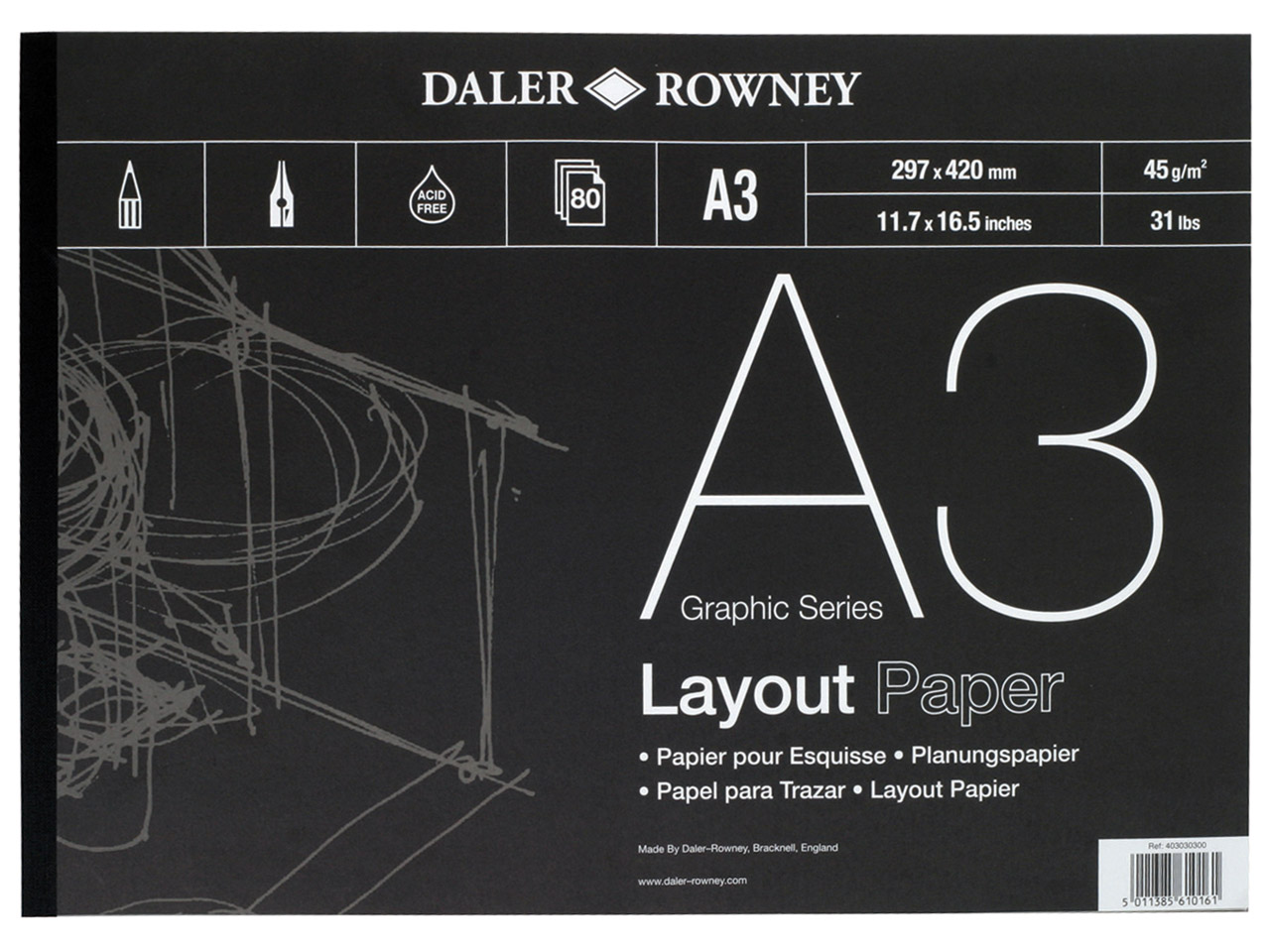 Daler Rowney Series A Layout Pad,  A3, 80 Sheets, 45gsm