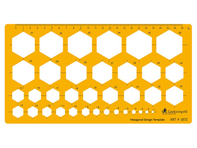 Hexagon Template 3mm To 42mm      Diameters