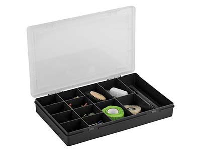 Wham Medium Project Box Organiser   Black 29 X 19 X 4cm 13 Compartments
