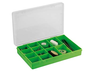 Wham Medium Project Box Organiser   Green 29 X 19 X 4cm 13 Compartments