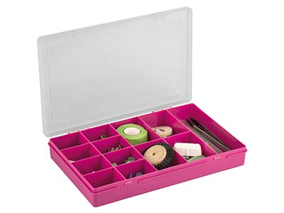 Wham Medium Project Box Organiser  Pink 29 X 19 X 4cm 13 Compartments