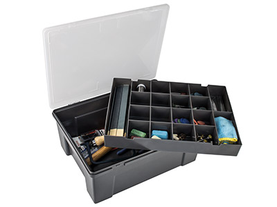 Wham Workshop Tool Box With        Removeable Tray 38 X 30 X 15cm   Black