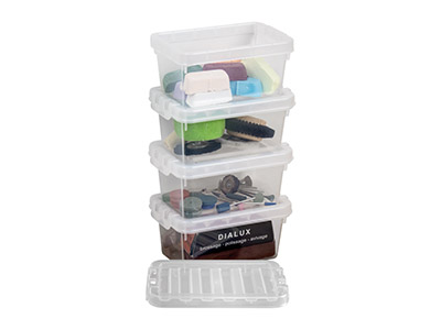 Wham Crystal Pack of 4 500ml Small Storage Boxes 14.5 X 9.5 X 6.5cm