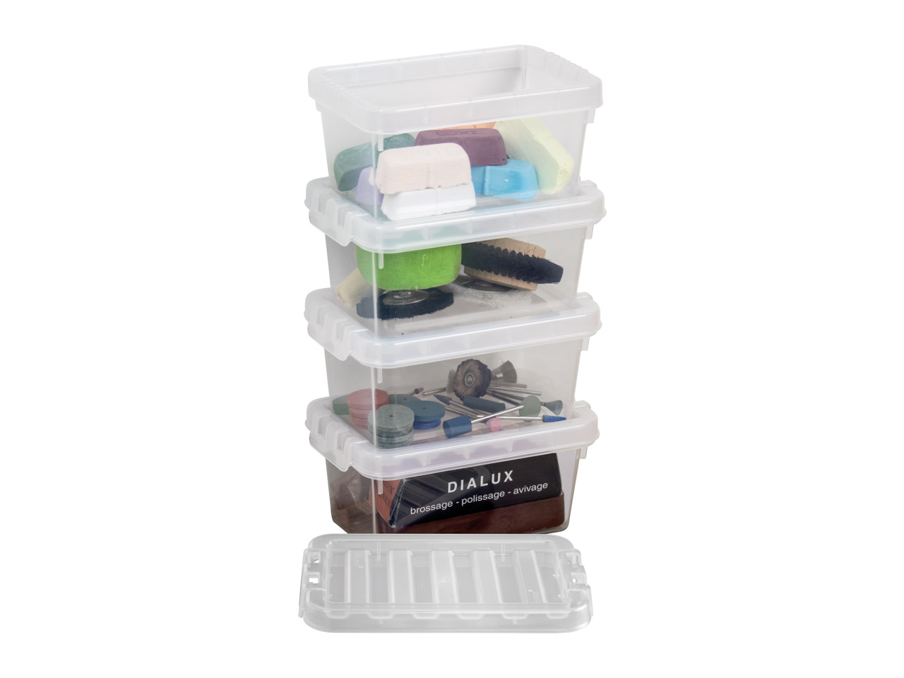 Wham Crystal Pack of 4 500ml Small Storage Boxes, 14.5 X 9.5 X 6.5cm