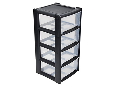 Wham Extra Large Storage Drawer    Tower Black, 4 Deep Drawers