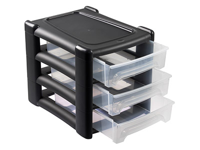 Wham Medium Storage Drawer Tower   Black, 3 Shallow Drawers