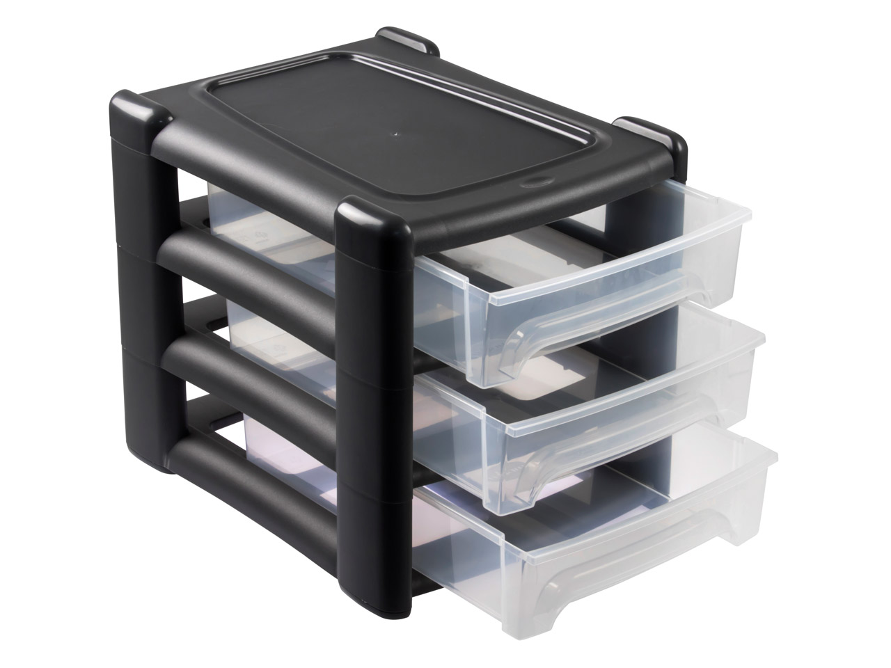 Wham Medium Storage Drawer Tower Black 3 Shallow Drawers
