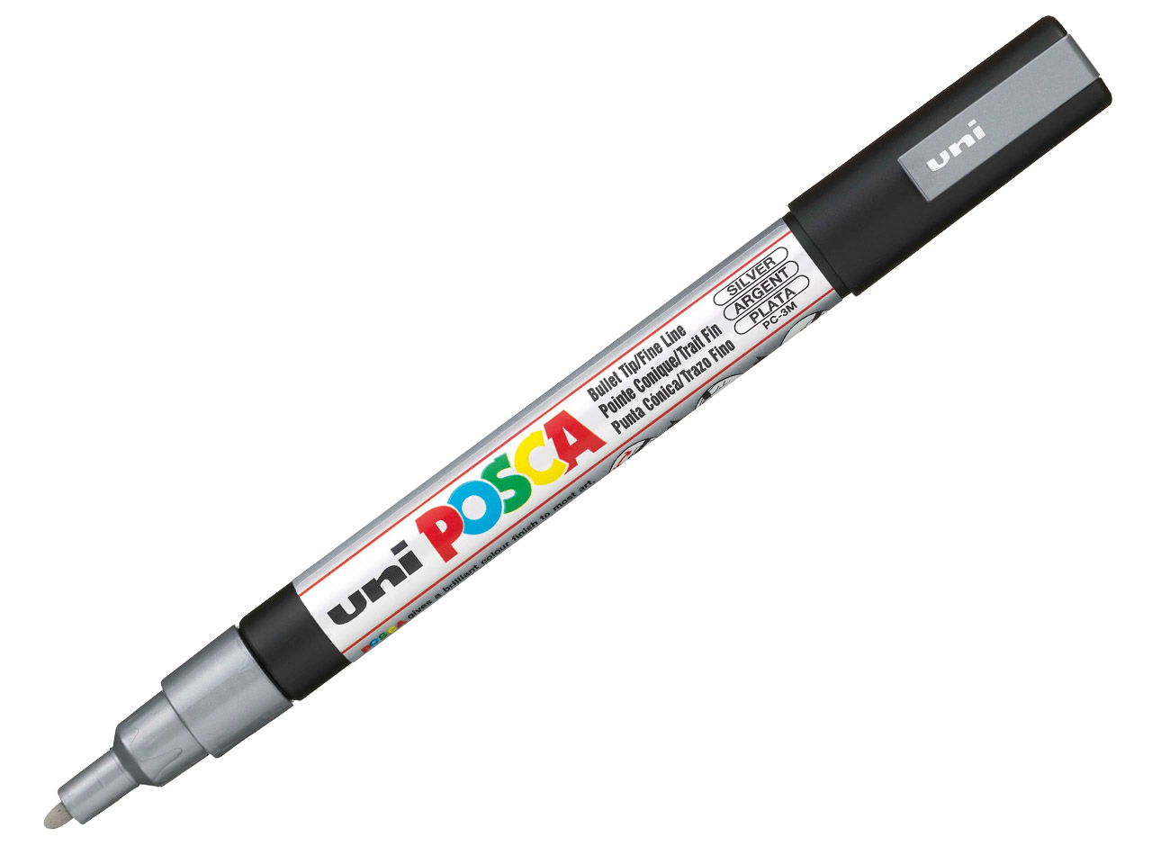 Posca Multi-surface Paint Marker In Silver, 1.3mm Fine Bullet Tip
