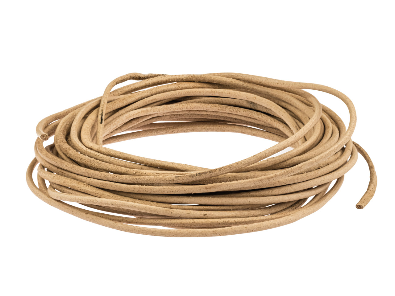 Natural Round Leather Cord 2mm     Diameter, 1 X 5 Metre Length