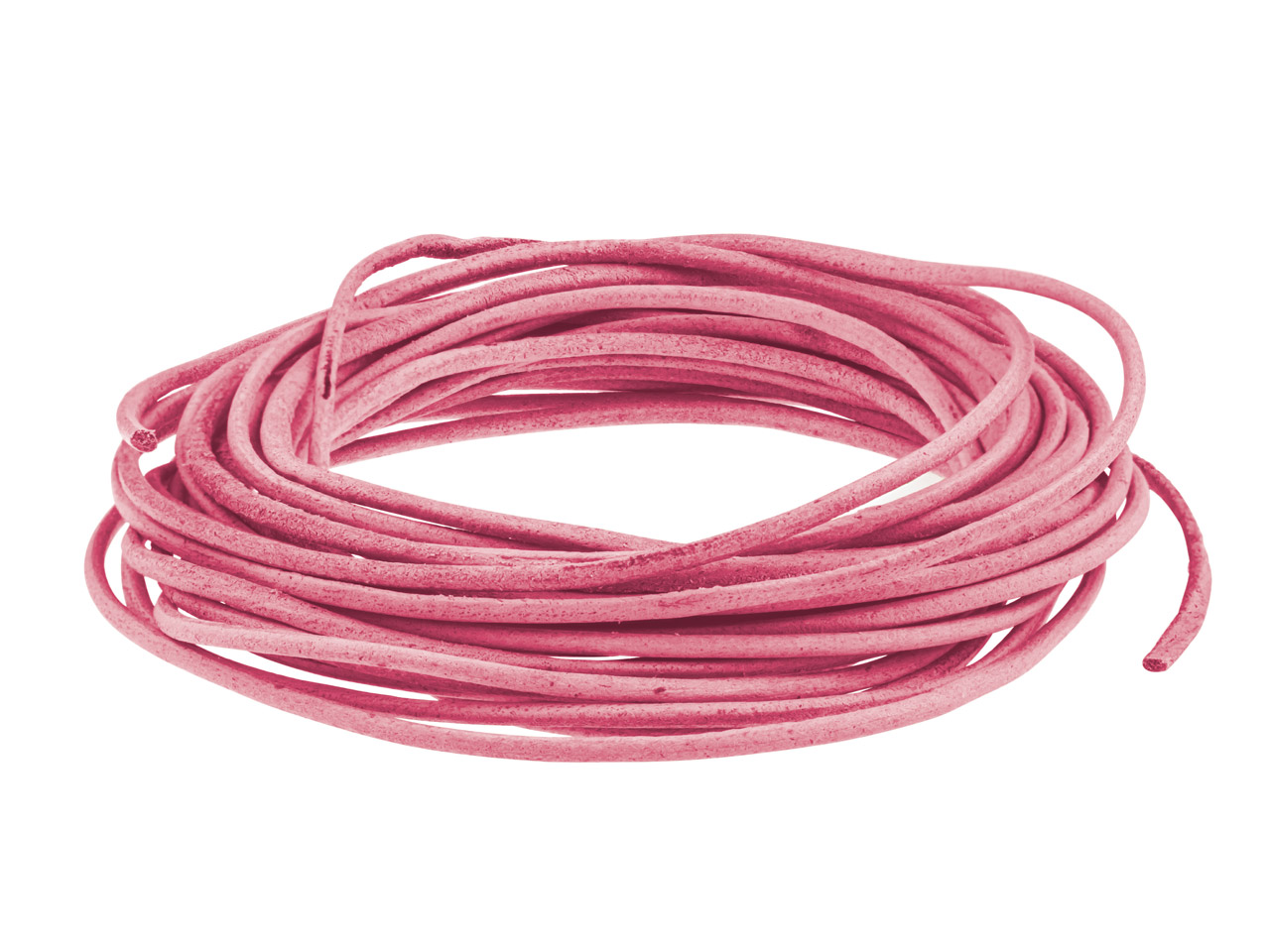 Pink Round Leather Cord, 2mm       Diameter, 3 X 1 Metre Length