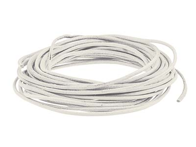 White Round Leather Cord, 2mm Diameter, 3 X 1 Metre Lengths