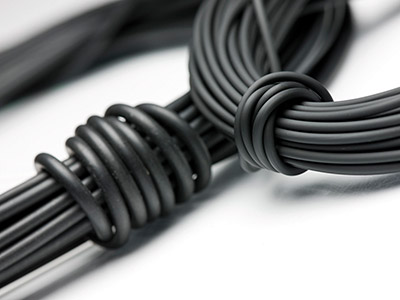 Black Rubber Round Cord 3.0mm X 10 Metres