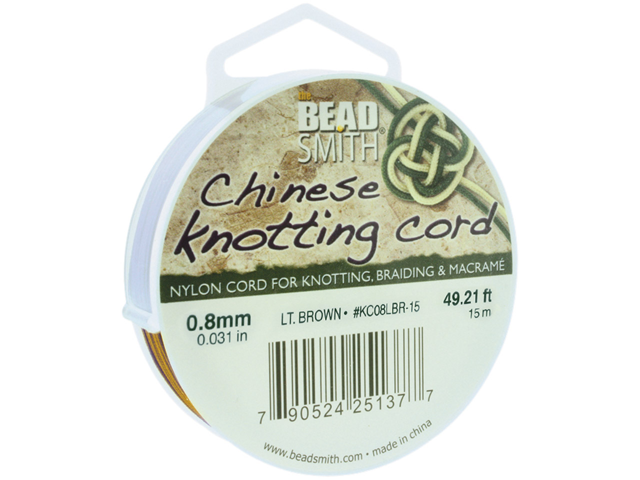 Beadsmith Brown Chinese Knotting   Cord 0.8mm X 15m