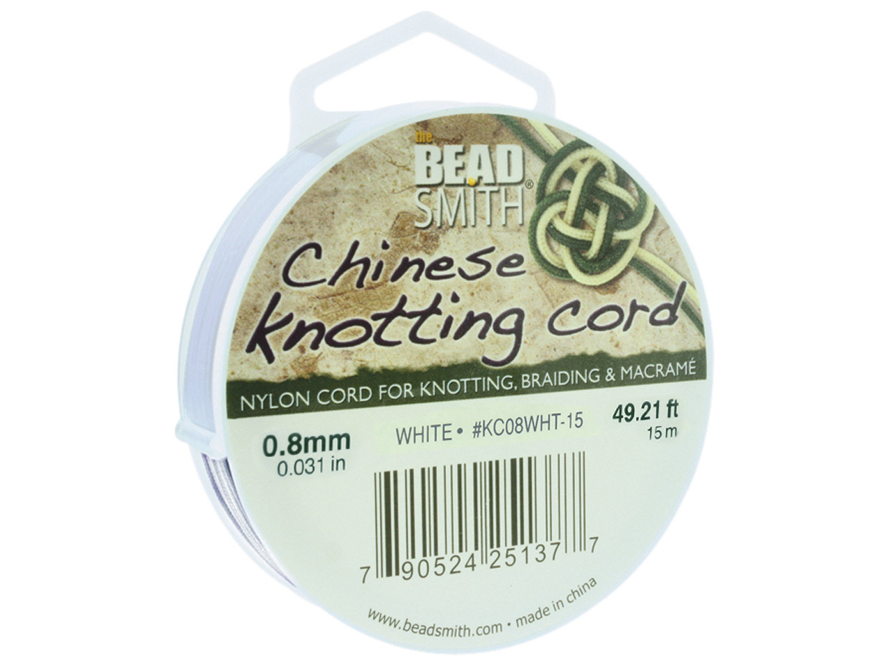 Beadsmith White Chinese Knotting   Cord 0.8mm X 15m