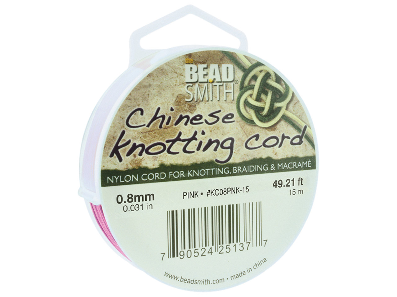 Beadsmith Pink Chinese Knotting    Cord 0.8mm X 15m