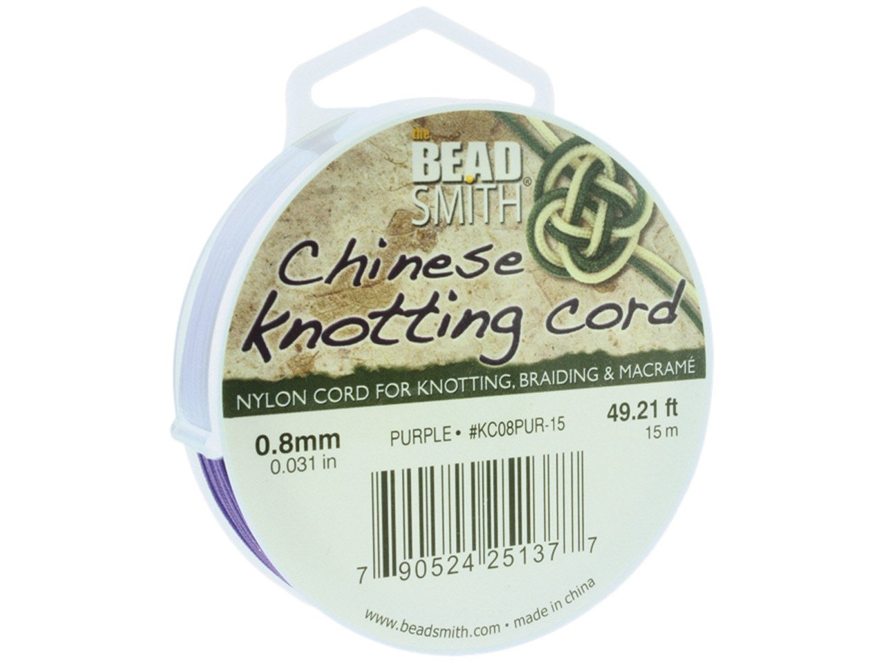 Beadsmith Purple Chinese Knotting  Cord 0.8mm X 15m