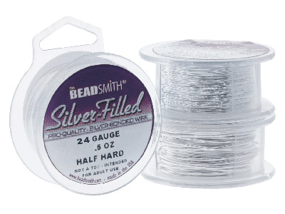 Beadsmith Silver Filled Wire 24     Gauge 25 Ft Half Hard Round 6 Fine Silver On Brass