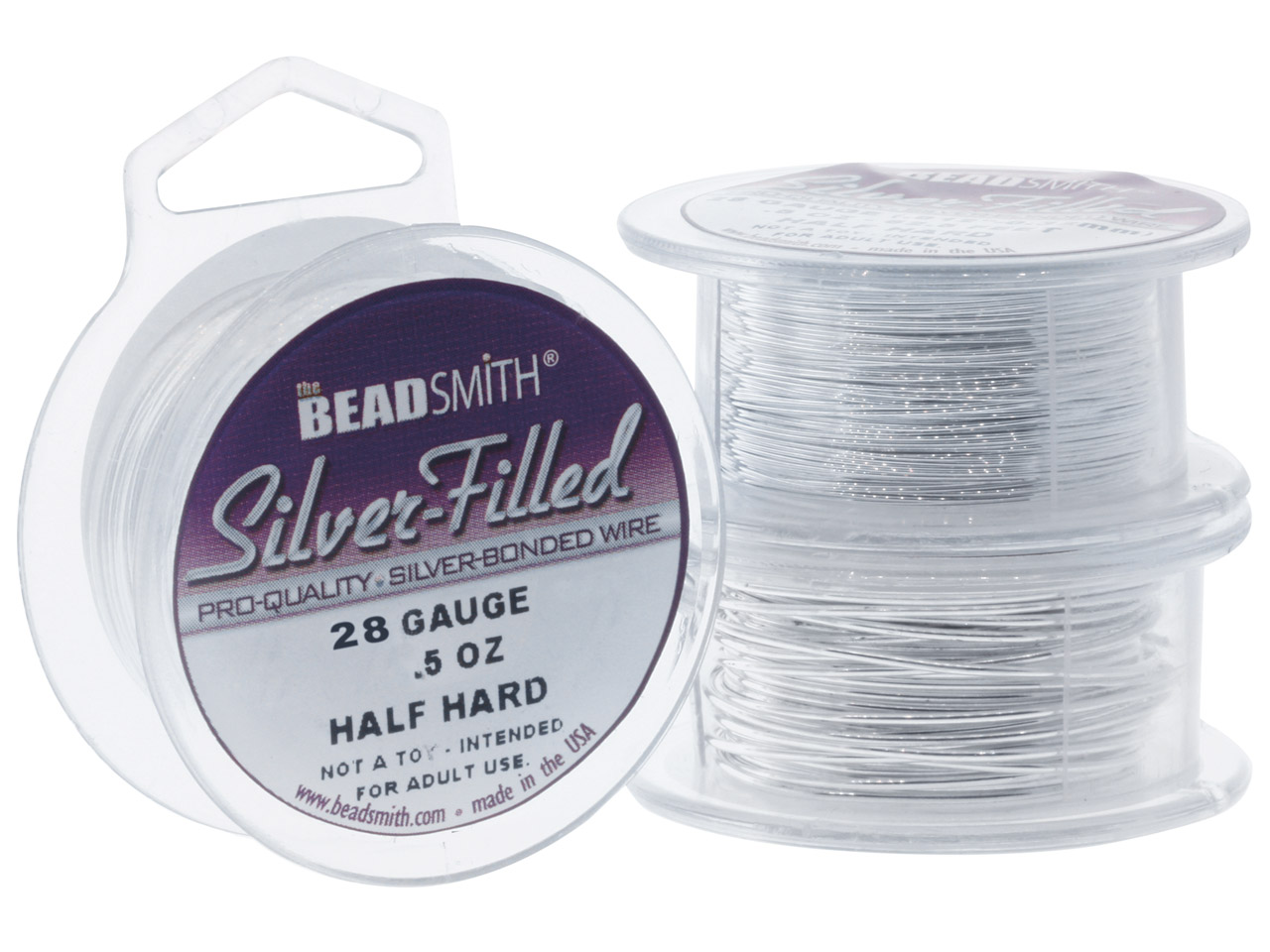 Beadsmith Silver Filled Wire 28    Gauge 62.5ft Half Hard Round 6%    Fine Silver On Brass