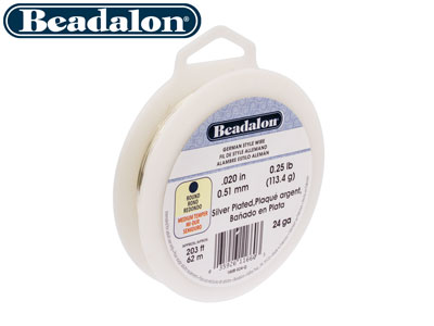 Beadalon German Style Wire Round   Silver Plated 24 Gauge Half Hard
