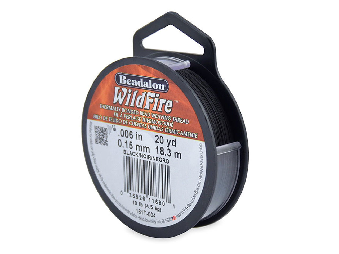 Beadalon Wildfire Thread Black     0.15mm X 18.3m