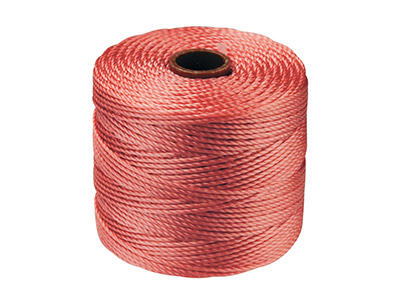 Beadsmith S-lon Bead Cord Coral Tex 210 Gauge 18 70m