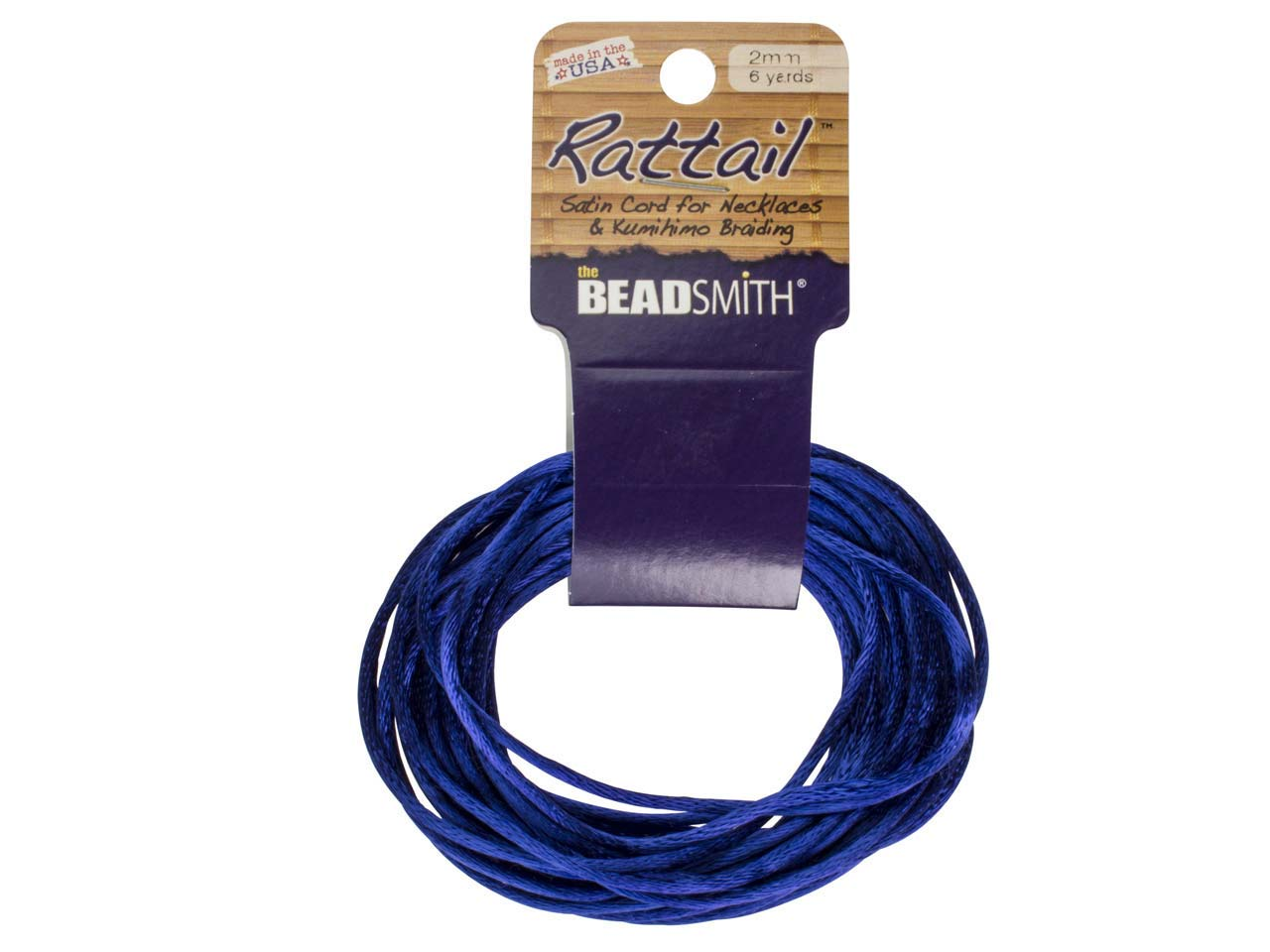 Beadsmith Rattail Satin Cord Royal Blue 2mm X 5m