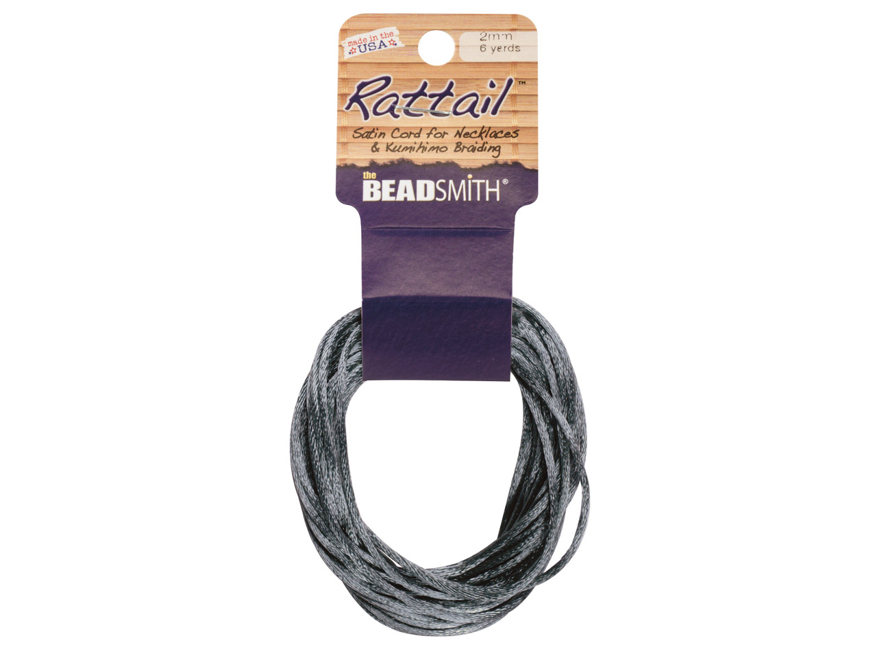 Beadsmith Rattail Satin Cord Dark  Grey 2mm X 5m