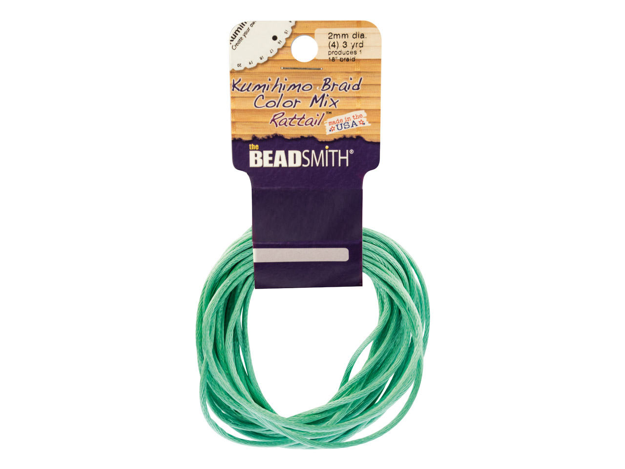 Beadsmith Rattail Satin Cord       Turquoise 2mm X 5m
