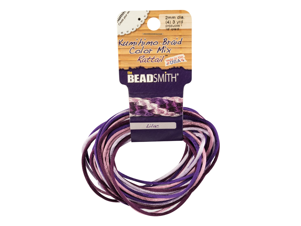 Beadsmith Rattail Satin Cord Purple Colour Mix 3 Strands 2mm X 2.75m