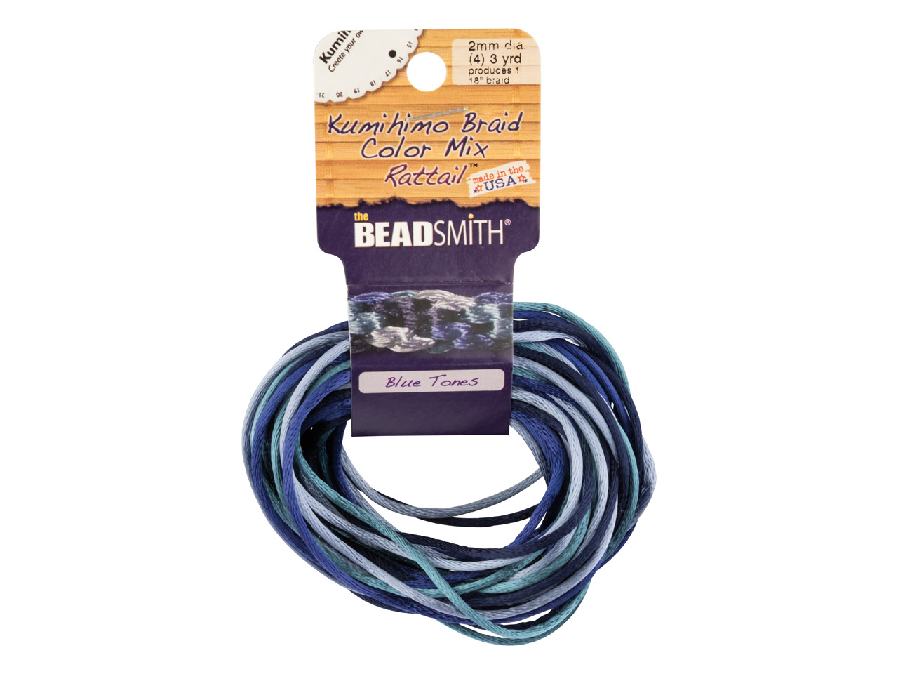 Beadsmith Rattail Satin Cord Blue  Colour Mix 3 Strands 2mm X 2.75m