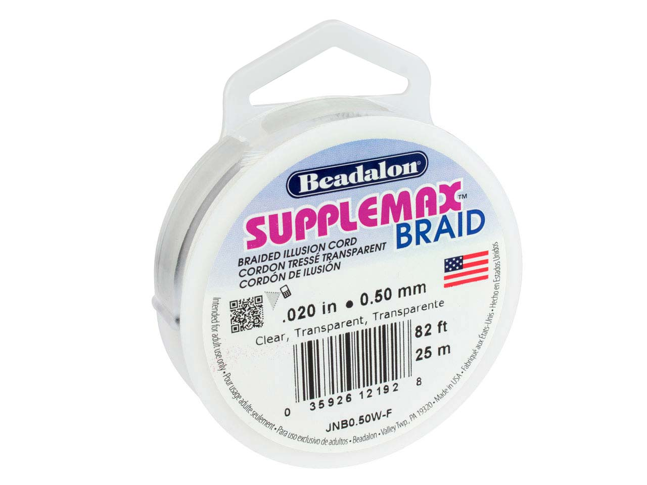 Beadalon Supplemax Braid Nylon     Cord, 0.50mm X 25m, Clear