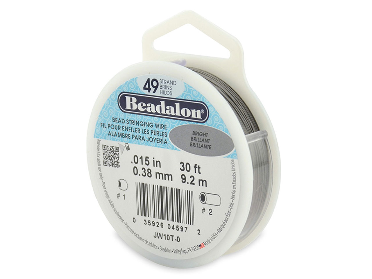 Beadalon 49 Strand Bright 0.38mm X 9.2m Wire
