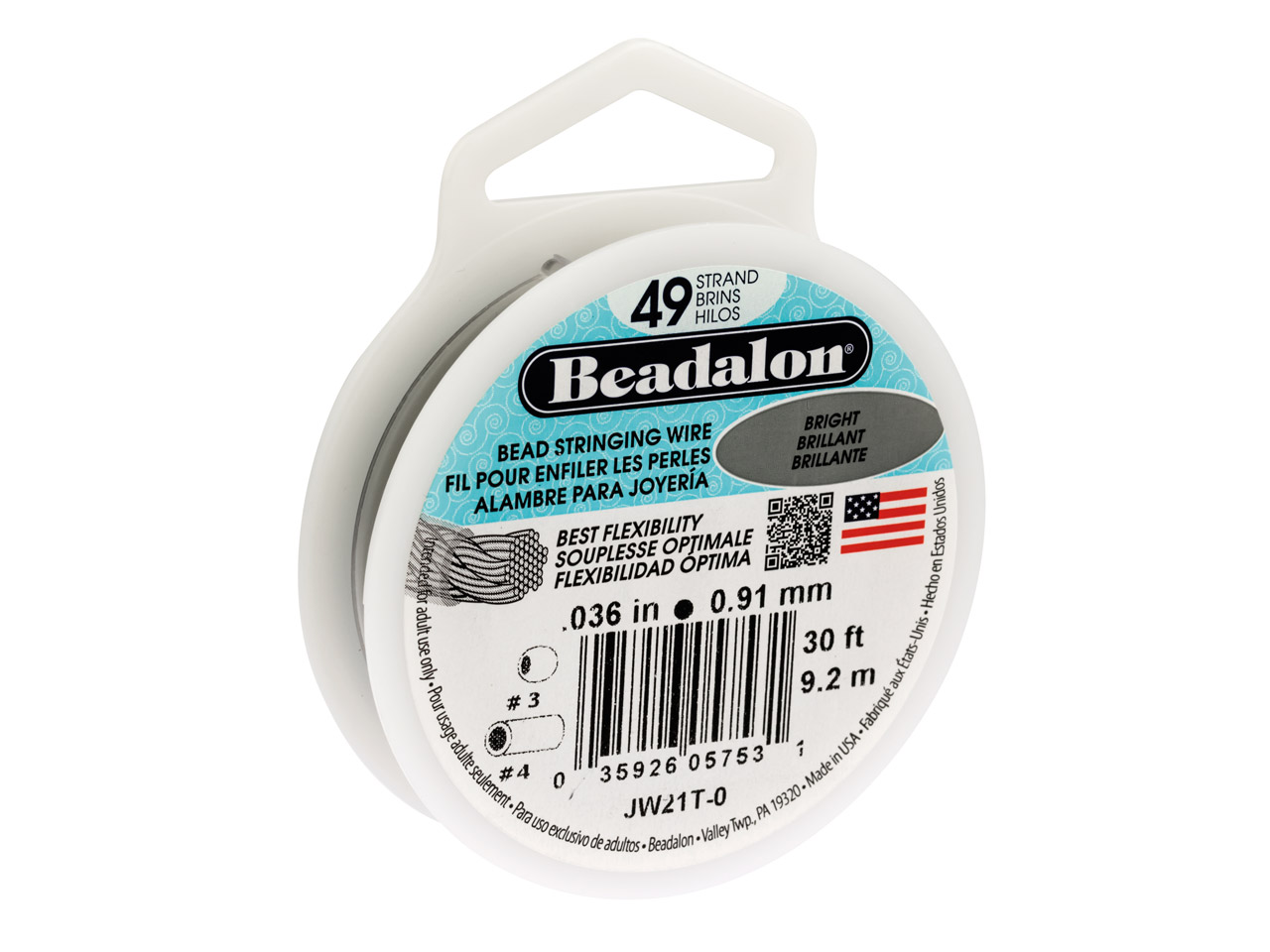 Beadalon 49 Strand Bright 0.91mm X 9.2m Wire