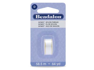 Beadalon White Nymo Beading Thread Size D 0.30mm, 58.5m Spool