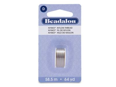 Beadalon Grey Nymo Beading Thread  Size D 0.30mm, 58.5m Spool