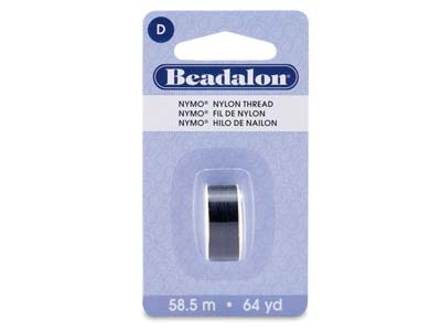 Beadalon Black Nymo Beading Thread Size D 0.30mm, 58.5m Spool