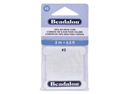 Beadalon White Silk Thread With    Needle, Size 2 0.45mm 2m Length