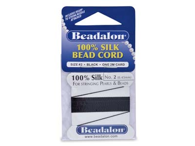 Beadalon Black Silk Thread With    Needle, Size 2 0.45mm 2m Length