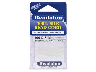 Beadalon White Silk Thread With    Needle, Size 4 0.60mm 2m Length