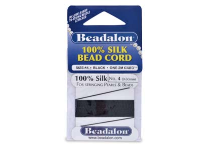 Beadalon Black Silk Thread With    Needle, Size 4 0.60mm 2m Length