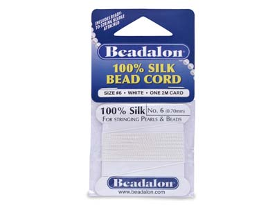 Beadalon White Silk Thread With    Needle, Size 6 0.70mm 2m Length