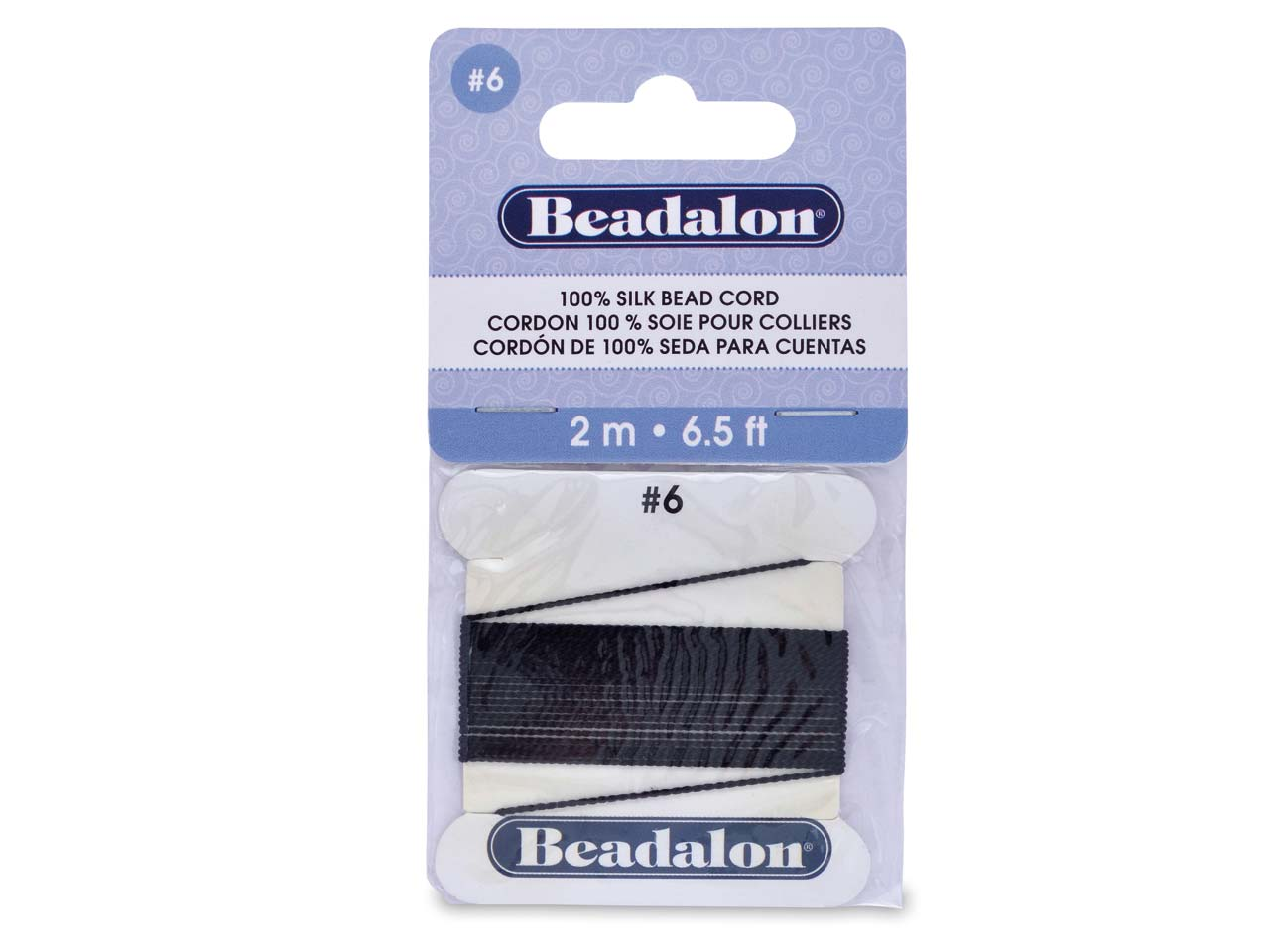 Beadalon Black Silk Thread With    Needle, Size 6 0.70mm 2m Length