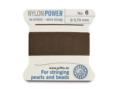 Griffin Nylon Power, Bead Cord,    Brown, Size 6
