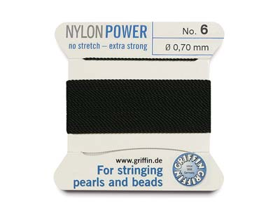 Griffin Nylon Power, Bead Cord,    Black, Size 6