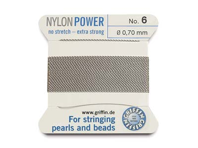Griffin Nylon Power, Bead Cord,    Grey, Size 6