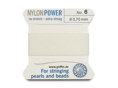 Griffin Nylon Power, Bead Cord,    White, Size 6