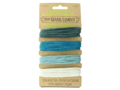 Beadsmith Natural Elements, Hemp   Cord, 4 Colour, Aqua, 1.0mm