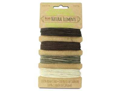 Beadsmith Natural Elements, Hemp   Cord, 4 Colour, Neutral, 0.55mm