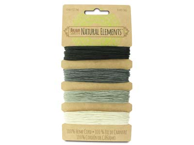 Beadsmith Natural Elements, Hemp   Cord, 4 Colour, Onyx, 0.55mm